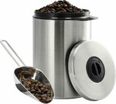 Zilveren Xavax RVS-blik voor 1 kg koffiebonen, met schepje
