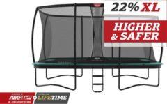 Groene BERG trampoline Ultim Champion 410 + Safety Net DLX XL