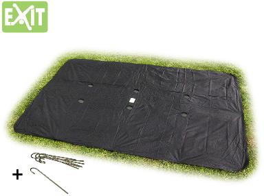 Afbeelding van Zwarte EXIT Supreme Ground Level ingraaftrampoline afdekhoes rechthoekig - 214 x 366 cm