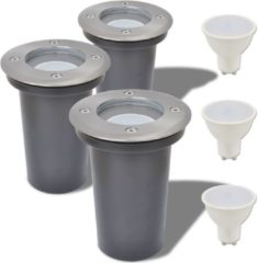 Zilveren Wolfcraft vidaXL LED-grondspots buiten rond 3 st
