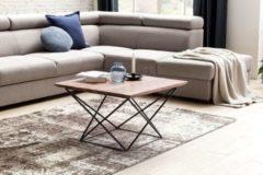 Wohnling Design Couchtisch AKOLA Sheesham Massivholz 71 x 71 x 45 cm mit Metallgestell Wohnzimmertisch quadratisch Modern Holz Tisch