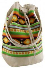 Merkloos / Sans marque Beige mochila schoudertasje 30 cm voor meisjes/dames - Kleine festival tasjes - Bucketbags