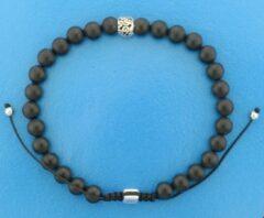 TFT The Jewelry Collection For Men Armband Onix Kralen 6,5 mm 19-26 cm - Zilver Gerhodineerd