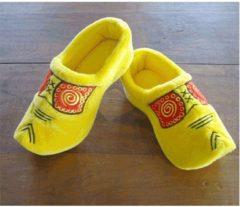 Gele pluche klompen/clogs sloffen/pantoffels voor volwassenen - Klompsloffen voor dames/heren 36-37