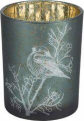 Cosy @ Home Theelichthouder Bird Groen - Ø10x(H)12,5cm - Glas