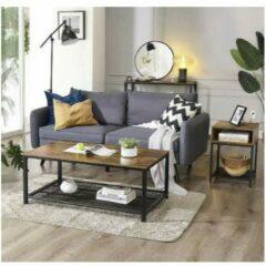 MIRA Home – Salontafel industrieel - Vintage - Bruin/zwart - 106x60x45