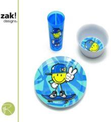 Blauwe Dinerset - Zak!Designs - Smiley - kids boy