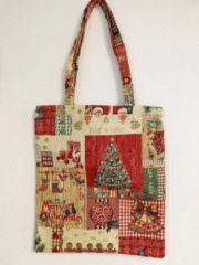 Rode Signare Boodschappentas - luxe gobelinstof - Christmas Jingle Bells - Kerst