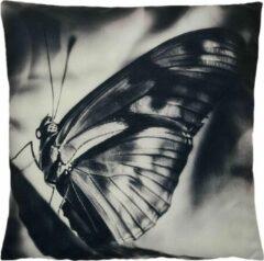 Grijze Decolenti   Vlinder Sierkussenhoes   Butterfly Silhouette Kussen   Zwart   Wit   Wasbaar   Decoratie   45cm x 45cm