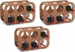 Bruine 3x Houten wijnflessen rekken/wijnrekken compact voor 6 flessen 38 cm - Zeller - Keukenbenodigdheden - Woonaccessoires/decoratie - Wijnflesrekken/wijnflessenrekken/wijnrekken - Rek/houder voor wijnflessen