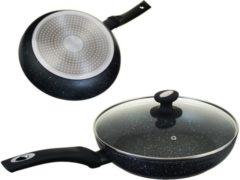 Zwarte EDENBERG EDËNBËRG EB-4108 Hapjespan Keramisch - marmeren coating 22 cm - 3-laags anti-aanbaklaag!