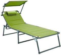 Aluminium Sonnenliege Gartenliege XXL Alu Liege mit Dach Dreibeinliege Textilene grün 200x70 cm bis Meerweh grün