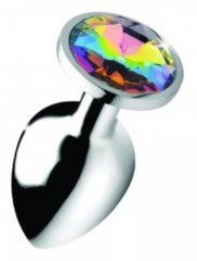 Zilveren Booty Sparks Rainbow Gem Buttplug - Groot