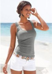 Grijze LASCANA strandtop met strikken bij de hals