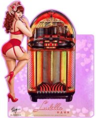 Roze Bennies Fifties Wurlitzer 1100 Jukebox Pin-Up Ludella Hahn Zwaar Metalen Bord 46 x 36 cm 2-Zijdig Uithangbord