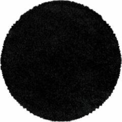 Zwarte SYDNEY SHAGGY Himalaya Monaco Soft Rond Shaggy Hoogpolig Vloerkleed Black- 120 CM ROND
