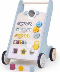 Lichtblauwe Bigjigs Toys Bigjigs Activiteiten Leren-Lopen-Wagen / Looptrainer FSC 100% (32014)
