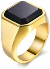 TrendFox Zegelring met Zwarte Steen   Zegelring Heren Goud Kleurig   18 - 22mm   Ringen Mannen   Ring Heren   Ring Mannen   Heren Ring   Cadeau voor Man   Mannen Cadeautjes   Sinterklaas Cadeau   Sinterklaas Cadeautjes