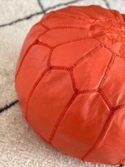 Poufs&Pillows Leren Poef - Oranje - Handgemaakt en stijlvol - Gevuld geleverd