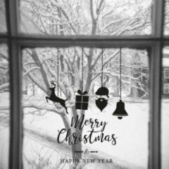 Zwarte Namenenzo Sticker Raamsticker kerst A4 - Merry christmas & Happy new Year 1 | Kerst stickers | kerststickers raam | Gratis Verzending!