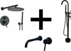 Blackline TS complete set voor badkamer- Zwarte regendoucheset 30CM- vrijstaande badkraan zwart- Zwarte wastafelkraan inbouw -Zwart sanitair- Set C