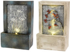 Beige Lumineo LED poly fontein met bloem 9.5x15x23cm