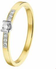 Goudkleurige Huiscollectie Bicolor Gouden Ring diamant 0.085ct H SI 18.00 mm (57)