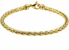 Goudkleurige The Jewelry Collection Zilgold Armband Vossestaart 4,0 mm 19 cm - Geelgoud Met Zilveren Kern