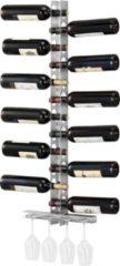 Zilveren En.casa Wijnrek Pfalz voor 12 flessen met bekerhouder wandmontage