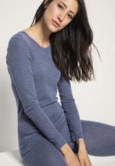 Hessnatur Damen Langarm-Shirt PureMIX aus Bio-Schurwolle mit Seide – blau – Größe 34