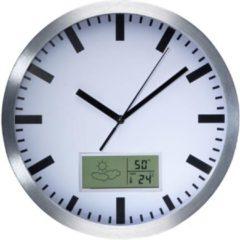 Velleman Aluminium wandklok met lcd-display - thermometer, hygrometer en weersvoorspelling - Ø 25 cm
