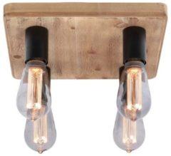 Zandkleurige Freelight Plafondlamp Lenero 4 Lichts 40 x 40 cm hout zwart