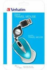 Verbatim Go Mini Muis USB Optisch Met kabelroller Caribsch blauw