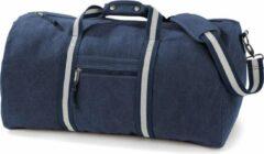 Bruine Quadra Canvas weekendtas/reistas donker/marine blauw 45 liter - Vintage reistassen/weekendtassen - Tassen voor dames/heren/volwassenen