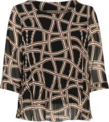 Zwarte Paprika Plisséblouse met geometrische print Laarzen Dames Blouse Maat EU46