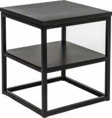 Duverger® Industry oak - Nachtkastje - eiken blad - zwart gebeitst - stalen legplank - vierkant - 40x40