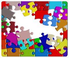 Leukste Winkeltje LeuksteWinkeltje muismat - Puzzelstukjes - met textiel toplaag - 22 x 18 cm