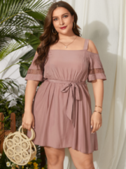 Roze YOINS Casual Off Shoulder Dress