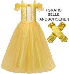 Gele Prinsessenjurk.nl Lange Belle jurk met edelsteen + gratis Belle Handschoenen - 110/116 (120) 5-6 jaar