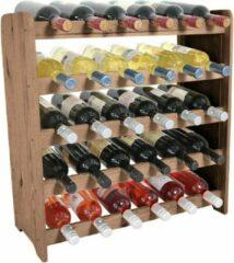 Wijnrek - Bottle Rack- 65x63x26,5 cm (LxBxD) - Massief Hout -BRUIN- 30 flessen - Flessenrek Modulair en Stapelbaar - Flessenhouder Staand