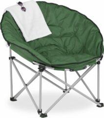 Relaxdays campingstoel opvouwbaar - moon chair - kampeerstoel - donkergroene relaxstoel
