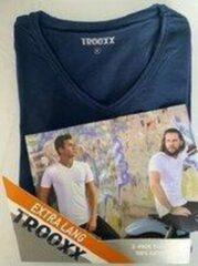 Marineblauwe Trooxx T-shirt 3x 2 pack, 6 stuks Extra Long - V- Neck - Kleur: Navy - Maat: XXL