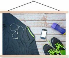 TextilePosters Het sportshirt en schoenen liggen klaar voor een training van fitness schoolplaat platte latten blank 60x40 cm - Foto print op textielposter (wanddecoratie woonkamer/slaapkamer)