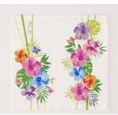 Merkloos / Sans marque 16x Hawaii thema servetten 33 x 33 cm - Papieren wegwerp servetjes - Tropische bloemen versieringen/decoraties
