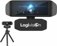 Zwarte Logivision 1080P FULL HD Webcam voor PC met Microfoon - Webcam voor Laptop - Webcam Logitech - Autofocus - Voor Werk/School/Streamen - Plug & Play - Inclusief GRATIS Webcam Statief
