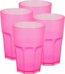 Bellatio Design 4x stuks kunststof drinkbekers 430 ml magenta- herbruikbaar -roze - herbruikbaar - Kunststof drinkbekers