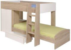 Etagenbett mit Kleiderschrank 'Stim' Sonoma Parisot Eiche Sonoma / Weiß