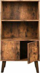 MIRA Home Boekenkast industrieel - Kast met deuren - 2 Planken - Bruin/zwart - 60x30x120