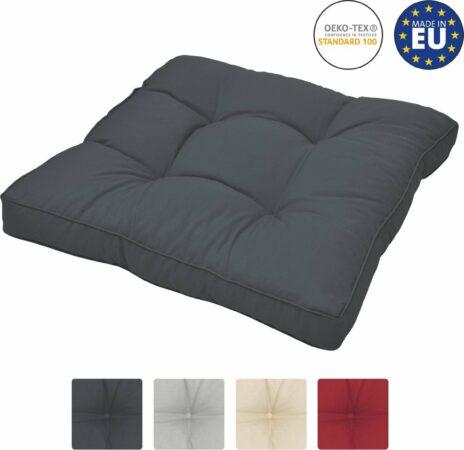 Afbeelding van Beautissu loungekussen XLuna – zitkussen grafiet grijs 50x50 cm kussen in matraskussen kwaliteit