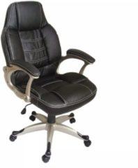 Nero VidaXL Sedia poltrona ufficio girevole BA plastica e pelle, nera
